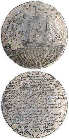 The Charlotte Medal.the Charlotte was one of six convict ships in the First Fleet. The ship's surgeon,John White, had convict Thomas Barrett(forger), engrave this silver medal as a memento. Terra Australis, First Fleet, Botany Bay, Historical Artifacts, Old Coins, First Contact, Vintage, Antiques, Charlotte