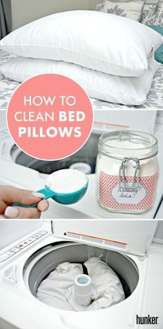 How to Clean Bed Pillows - Cleaning Hacks Deep Cleaning Tips, House Cleaning Tips, Cleaning Solutions, Spring Cleaning, Cleaning Hacks, Bedroom Cleaning, Floor Cleaning, Cleaning Products, How To Clean Bed