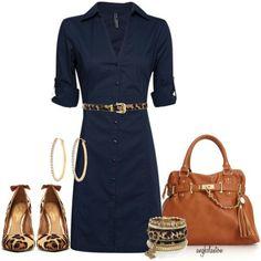 Navy shirt dress w/leopard belt