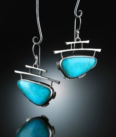 Royston Turquoise Earrings. Fabricated Sterling Silver. www.amybuettner.com