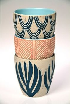 color sgraffito Ceramic Beakers by Dimity Kidston