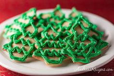 Moravian Christmas Trees Cookies, my favorite recipe for cutout cookies, with royal icing.