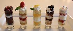 Mini Dessert shooters! (recipes) Chocolate Mini Cupcake Shooter Raspberry cheesecake shooter Lemon Shortbread Shooter Tiramisu Shooter Strawberry Shortcake Shooter