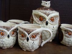 vintage owl mugs