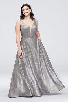 Belted Metallic Plus Size Ball Gown with Pockets - Turn heads in this captivating metallic, plus-size ball Plus Size Gowns, Plus Size Prom Dresses, Plus Size Outfits, Gowns With Sleeves, Lace Sleeves, Strapless Prom Dresses, Davids Bridal Dresses, Wedding Dresses, Mom Dress