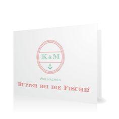 Hochzeitseinladung Butter bei die Fische in Koralle - Klappkarte flach #Hochzeit #Hochzeitskarten #Einladung #elegant #modern https://www.goldbek.de/hochzeit/hochzeitskarten/einladung/hochzeitseinladung-butter-bei-die-fische?color=koralle&design=42207&utm_campaign=autoproducts