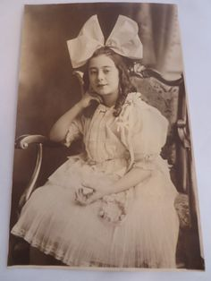 Antique Photograph Girl with Large Bow Vintage by PECollectibles