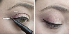 Try this two-step push-and drag-technique to make a subtle cat eye easier.