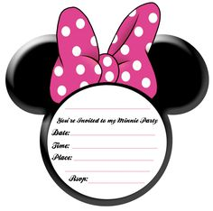 Minnie Mouse Party Ideas and Free Printables found here. A free Minnie Mouse ears printable invitation plus a full party stationery printable set.