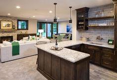 Basement bar and furniture layout