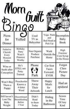 Mom Guilt Bingo Feeling some mom guilt today? Of course you are! Let's make a game of it. Mom Guilt Bingo is perfect for Mom's night out, where you're [. Parenting Humor, Parenting Advice, Moms' Night Out, Yoga Mom, Sweet T, Mentally Strong, Up Book, All Family, Family Goals