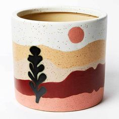 Visual interest is created on the desert series with the combination of a landscape design and a silica glaze which doubles the look and feel of this piece. Generously sized, this earthenware planter will hold a medium to large sized plant. Painted Plant Pots, Painted Flower Pots, Pottery Painting Designs, Pottery Art, Ceramic Painting, Ceramic Art, Flower Pot Art, Plant Decor, Diy Art