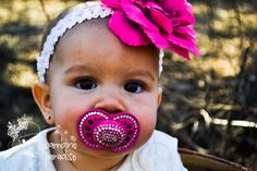 Sale Sale Sale Pacifier bling with crystals.. hot pink and crystal white..rhinestone pacifier..baptism..christian..easter..birthday on Etsy, $27.00