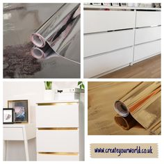 Silver or gold malm hack? 🤔 which is your favourite? Or what about using mirror effect vinyl - now that we would love to see! Ikea Hacks, Ikea Furniture Hacks, Ikea Malm, Vinyl Wrap Furniture, Dc Fix, Sticky Back Plastic, Mirror Effect, Spare Room, Room Colors