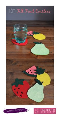 DIY Felt Fruit Coasters || Perfect summer craft! Love these, and so easy to make!
