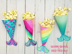 Make your own Mermaid Popcorn Holders. Perfect for a Mermaid Party or Mermaid Movie Night! Enjoy this adorable and free Mermaid Tail Printable! Mermaid Party Food, Mermaid Theme Birthday, Little Mermaid Birthday, Little Mermaid Movies, Little Mermaid Parties, The Little Mermaid, Mermaid Crafts, Mermaid Diy, Mermaid Pool