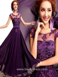 2015 Style A-line Scoop Floor-length Chiffon Prom Dresses/Evening Dresses