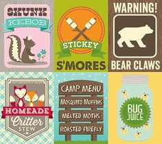 Happy Friday everyone! :) For my Friday post - it's all about. Project Life Karten, Project Life Cards, Happy Campers, Happy Friday, Camping Theme, Camping Hacks, Camping Crafts, Pocket Scrapbooking, Thing 1