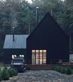 Forest House 🌿🖤 Renders by Swipe Left! Forest House 🌿🖤 Renders by Modern Barn House, Modern Cottage, Black House Exterior, Forest House, House In The Woods, Exterior Design, Modern Architecture, Future House, Home Fashion