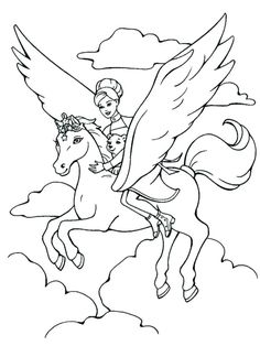 einhorn ausmalbild, pinzessin am unicorn, fligen in den wolken Barbie Coloring Pages, Unicorn Coloring Pages, Horse Coloring Pages, Fairy Coloring Pages, Princess Coloring Pages, Online Coloring Pages, Coloring Pages For Girls, Cartoon Coloring Pages, Coloring Pages To Print