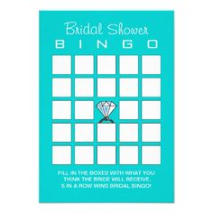 Modern Tiffany Blue Bridal Shower Bingo Cards