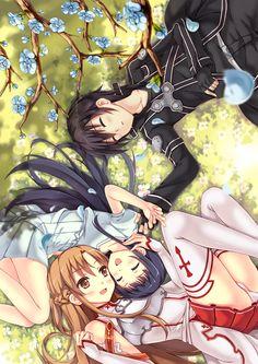 Sword Art Online, Asuna, Yui  Kirito, by pcmaniac88