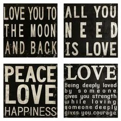 4-Piece Love Quotes Wall Decor Set