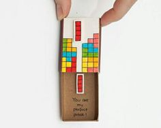 """Witty Valentine's Day card/ Tetris Card / Unique anniversary gift/ Love Card/ Tiny Matchbox """"You are Saint Valentine, Valentine Love Cards, Valentine Gifts, Matchbox Crafts, Matchbox Art, Unique Anniversary Gifts, Funny Anniversary Cards, Surprise Gifts For Her, Cute Messages"""