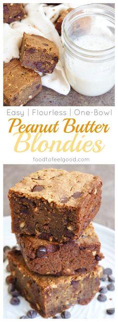 Gluten-Free   Dairy-Free   Grain-Free   No-Refined Sugar   Flourless Peanut Butter Chocolate Chip Blondies