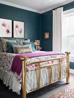 Paint colors for bedroom vintage teal and pink bedroom paint schemes interior . Best Bedroom Colors, Bedroom Color Schemes, Bedroom Paint Colors, Bedroom Styles, Paint Colours, Wall Colours, Jewel Tone Bedroom, Bedroom Green, Blue And Pink Bedroom