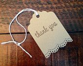 10 Kraft Thank You Gift Tags Wedding Escort Card Favor Tags Gift Packaging - Hand Punched Dolly Lace & Hand Stamped
