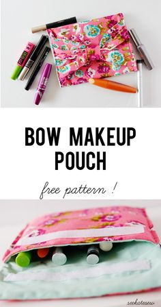 buy + diy: best mascara brands + sampler bow pouch - see kate sew FREE PATTERN Sewing Hacks, Sewing Tutorials, Sewing Crafts, Sewing Projects, Craft Projects, Sewing Ideas, Sewing Patterns Free, Free Sewing, Free Pattern