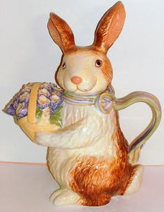 Longaberger Pottery Bunny Teapot Easter Rabbit New in Box | eBay