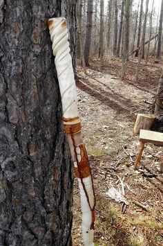 Hand Carved Wizard / Shaman Staff Walking Stick, White Birch Wood