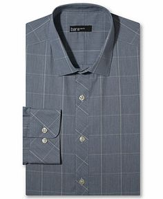 Bar III Dress Shirt, Slim-Fit Sapphire Glen Plaid Long-Sleeved Shirt