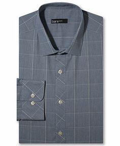 Bar III Dress Shirt, Slim-Fit Sapphire Glen Plaid Long-Sleeved Shirt