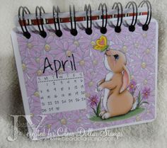 """Pieces of Me... Clear Dollar Stamps a.k.a Clearly Digital Stamps is Releasing NEW digi images this week!!  One of them called """"Mini Calendar Handwriting"""". Here is a calendar created with digital images from CDS, printed, and bound with binding wire using the cinch machine. Each month using digital images from CDS!"""