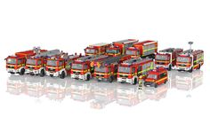 LEGO Fire Dpt Group Shot / Gruppenbild Feuerwache 20 (update - The next update to the group shot of some of the vehicles from fire station In the render there - Lego City Fire Truck, Lego Truck, Tow Truck, Lego Robot, Lego Moc, Vw T5, Auto Union 1000, Wiking Autos, Lego Fire