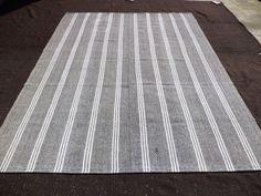 """Large Turkish Kilim Rug,7,11""""x10,5"""" Feet 240x318 Cm White Stripe Gray Kilim Rug,Decorative Turkish Kilim Rug,Vintage Kilim Rug."""