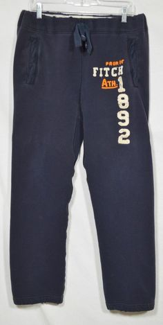 ABERCROMBIE & FITCH Mens Blue Cotton Blend Sweatpants Large Drawstring Elastic #AbercrombieFitch #TrackSweatPants