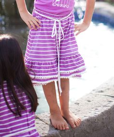 Look at this Trish Scully Child Lilac Stripe Hi-Low Skirt - Toddler & Girls on #zulily today!