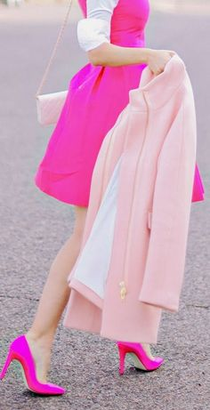 Hot Pink Kate Spade Bow Dress + J.Crew Pink Pumps- need this! Pink Love, Pretty In Pink, Bright Pink, Pastel Pink, Couleur Fuchsia, Magenta, Rosa Style, Look Rose, Vestidos Color Rosa