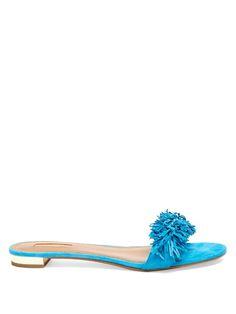 AQUAZZURA Wild Thing Suede Slides. #aquazzura #shoes #sandals