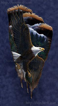 Mountain Splendor -- Bald Eagle painted on turkey feathers. Art by Sandra SanTara