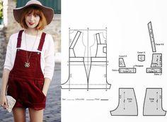 Moda e Dicas de Costura: JARDINEIRA/CALÇÃO FÁCIL DE COSTURAR