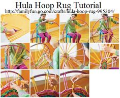 Hula Hoop Rug Tutorial ~ Materials Needed: Scissors, About a dozen T-shirts, 33-inch hula hoop