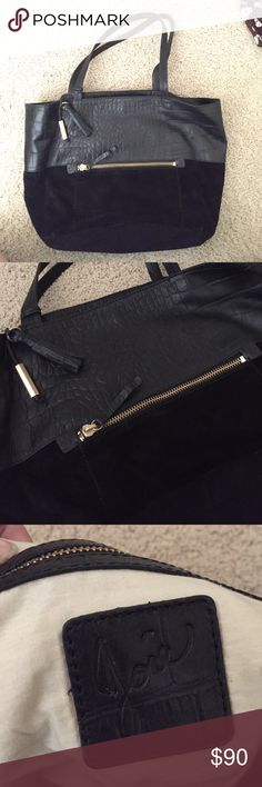 Joie black leather tote Half suede, half crock-embossed looking print leather. Gold hardware. Magnetic snap closure. Lined with tan cloth on inside - no stains. Zip pocket on inside and two pockets for phone/etc. Joie Bags Totes