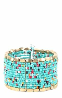 Deb Shops Spiral Bracelet with Multicolor Beads