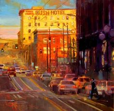 The Bush Hotel Seattle cityscape, oil painting by Robin Weiss, painting by artist Robin Weiss
