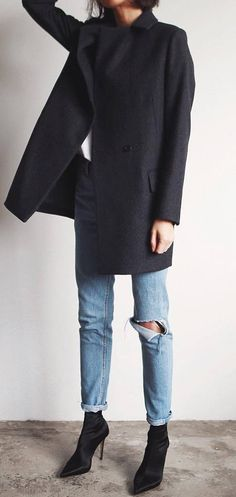 simple outfit | coat + ripped jeans + boots
